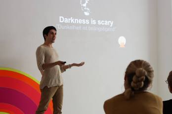 "Sia started his presentation ""Darkness is scary"""