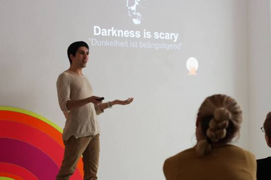 """Sia started his presentation """"Darkness is scary"""""""